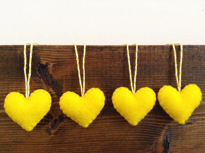 Yellow Felt Heart Ornaments - Valentine's Decorations - set - brazzlefrats