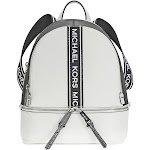 Michael Kors Rhea Medium Pebbled Leather Backpack - Optic White / Black