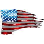 Precision Metal Art TATTERED-24FLAG 24 in. Patriotic Tattered Flag Steel Laser Cut Wall Art With Vibrant Color American Flag Pattern
