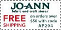 Free shipping at Joann.com!  Code:  AUGFSA735