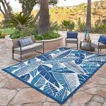"Elements Indoor/Outdoor Tilos Leaves Area Rug, Blue, 7'10"" x 10'"