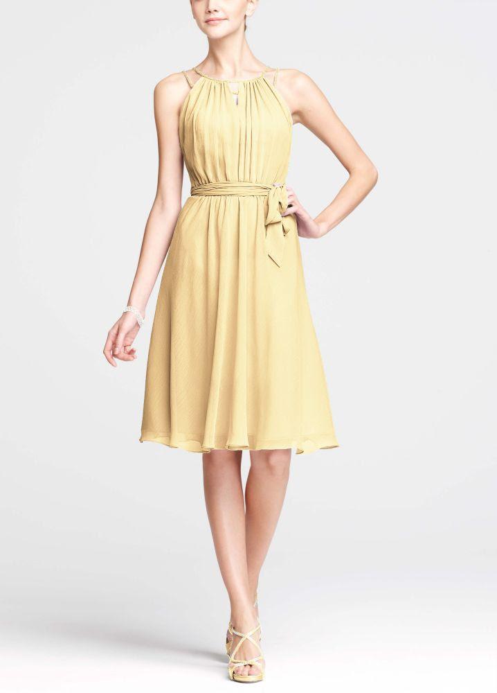 David's Bridal Short Sleeveless Chiffon Dress with Beaded ...