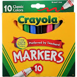 Crayola Broad Line Markers, Classic Colors, 10 Ct