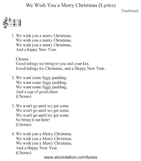 Lyrics We Wish You A Merry Christmas Traditional
