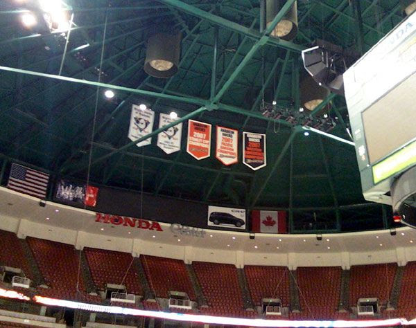A camera phone pic I took of the Anaheim Ducks' championship banner at the Honda Center, on January 27, 2012.