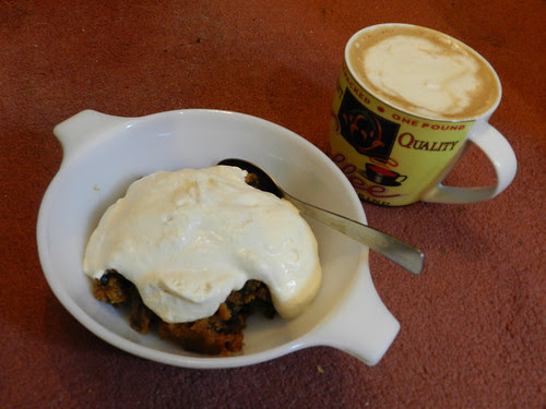 Snack time - pudding with brandy whipped cream