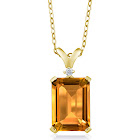 Yellow Citrine and Diamond 18K Yellow Gold Plated Silver Pendant Necklace 8.22 Ct with 18 inch Chain