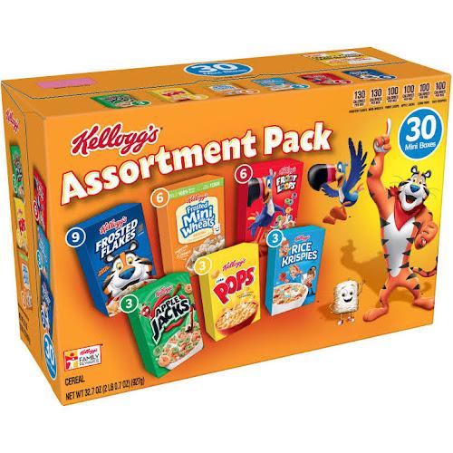 Kellogg's Jumbo Cereal, Assorted - 30 pack, 32.7 oz box