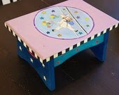 Hand  Painted  STEP STOOL, foot stool, Solid wood - GoGAGA4Art