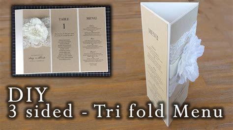 How to make a rustic 3 sided tri fold menu   wedding menu
