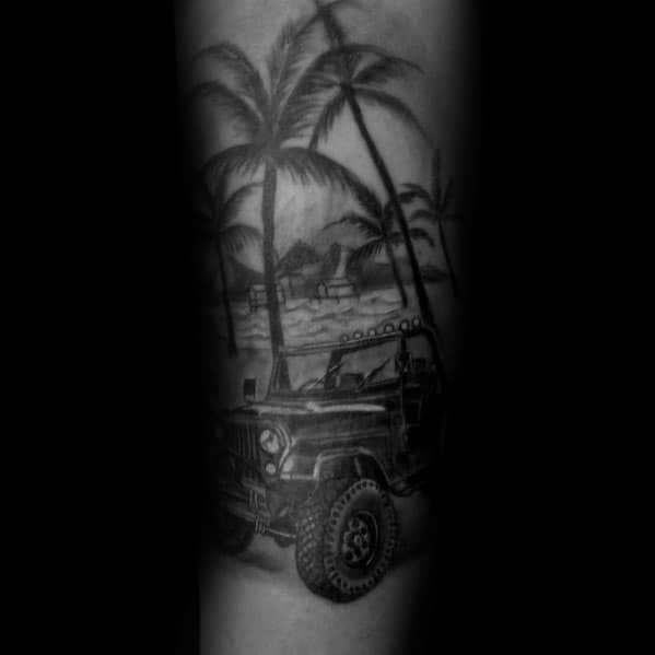 Tatuagens masculinas modernas do jipe
