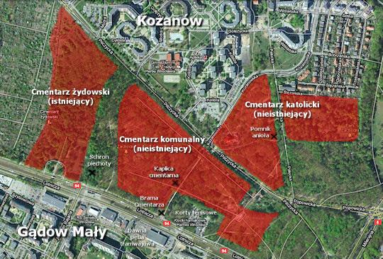 Mapa obszaru cmentarzy