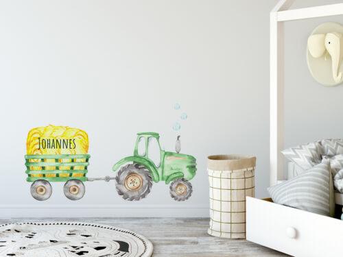 Wandtattoo Kinderzimmer Junge Traktor Mit Namen Babyzimmer Personalisiert Kinder