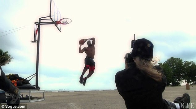 Shooting hoops: Dwyane Wade shows off his slam dunks minus a supermodel for photographer Annie Leibovitz
