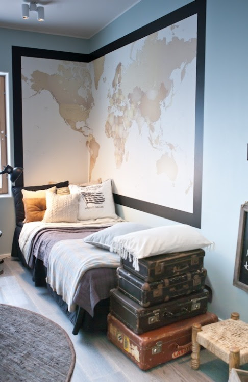 art-homes:  interior—style:  Guest Room - your guests can place a pin on the map where they're from