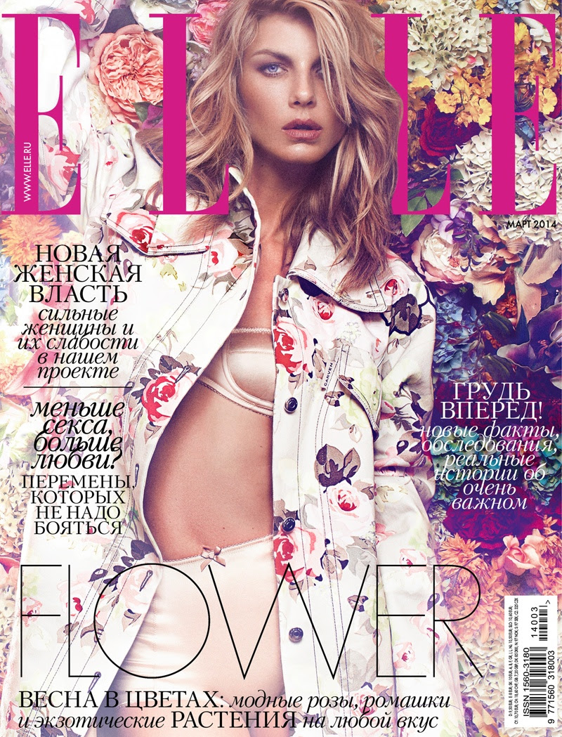 angela lindvall photo shoot16 Angela Lindvall Embraces Florals in Elle Russia Shoot by Xavi Gordo