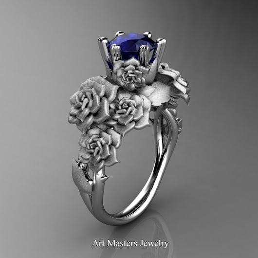Nature Inspired 14K White Gold 1.0 Ct Blue Sapphire Rose Bouquet Leaf and Vine Engagement Ring R427-14KWGSBS
