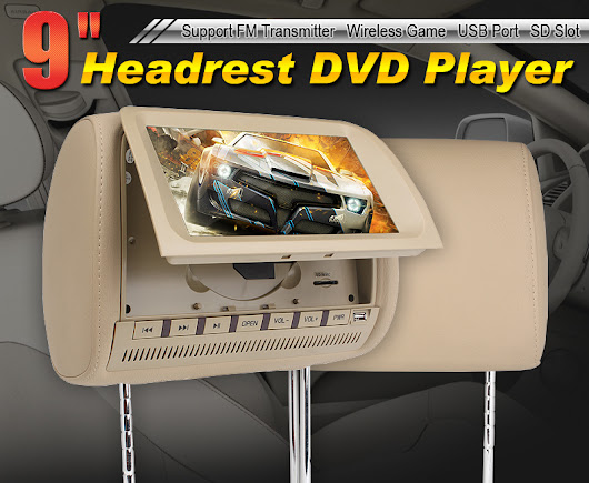 "Dual 9"" HD LCD Car Pillow Headrest Monitors DVD Player with Wireless Headphones"