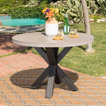 Christopher Knight Home Teague Outdoor Round Light-Weight Concrete Dining Table by, Size: White + Black