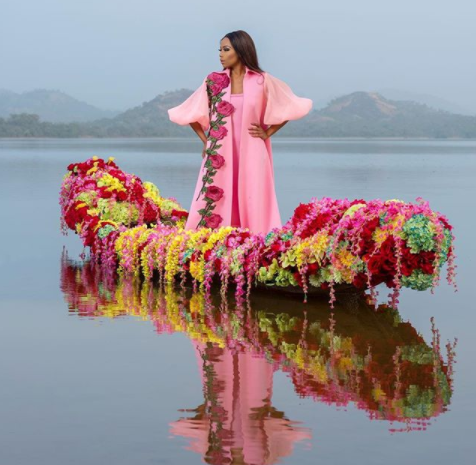 SA media personality, Bonang Matheba looks regal in photos shot at?Usama Dam, Abuja