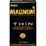 Trojan Natural Rubber Latex Ultra Smooth Dimethicone Magnum Thin Lubricated Condoms, 12 Count