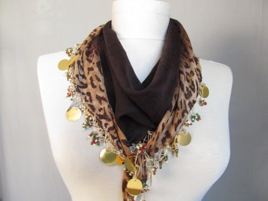 Brown scarf  leopard scarf Turkish women scarf  by ScarfsSale