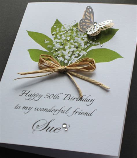A5 Handmade Personalised LILY OF THE VALLEY Birthday Card
