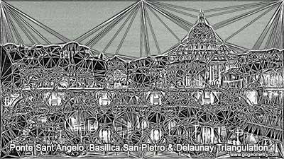 Rome: Ponte Sant'Angelo and Basilica San Pietro & Delaunay Triangulation.