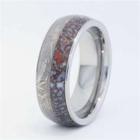 Tungsten Ring with Dinosaur Bone and Meteorite Inlay