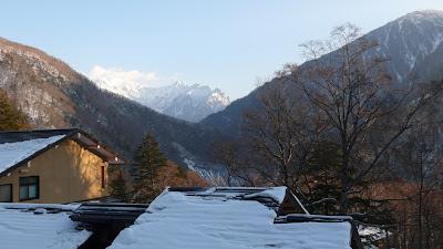 view from window at Nakanoyu Onsen, Japan