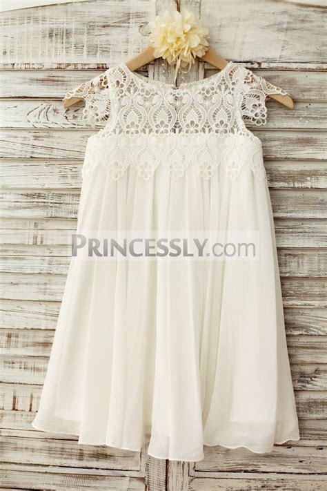 Boho Beach Lace Cap Sleeves Ivory Chiffon Flower Girl