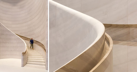 A Hand-Carved Stone Staircase Adds A Sculptural Touch To The Apple Store In Singapore