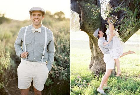playful bride groom white shorts   Once Wed