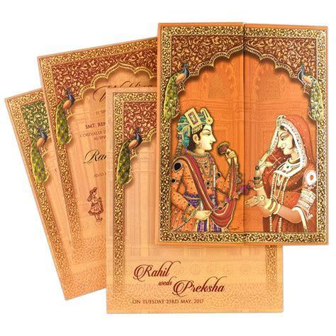 Peacock Wedding Invitation   Indian Wedding Card   Indian