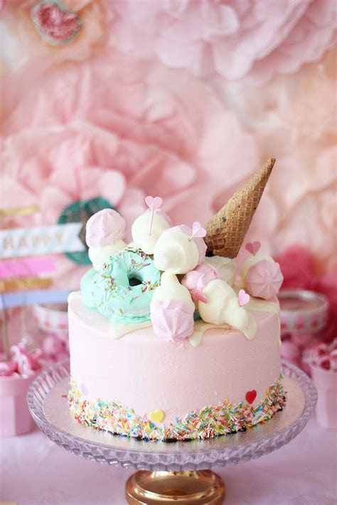 Ice cream and floral 1st birthday party   Pink party ideas