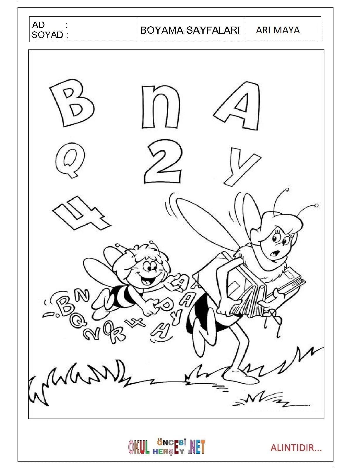 Arı Maya Boyama Sayfaları