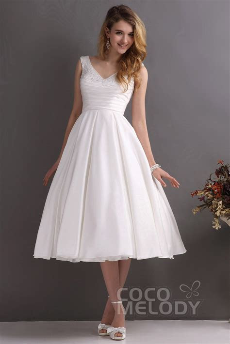 A Line V Neck Tea Length Satin Wedding Dress CWXA13001