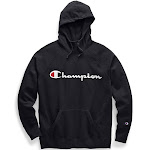 Champion Women's Powerblend Fleece Pullover Hoodie, Script Logo GF934 Y07418 - Black