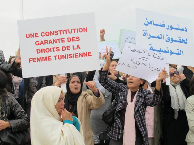 Women protest in Tunis to demand protection of their rights. Credit: Giuliana Sgrena/IPS