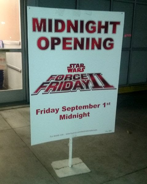 Waiting outside the local Toys'R'Us store for the midnight opening of 'Force Friday II'...on August 31, 2017.
