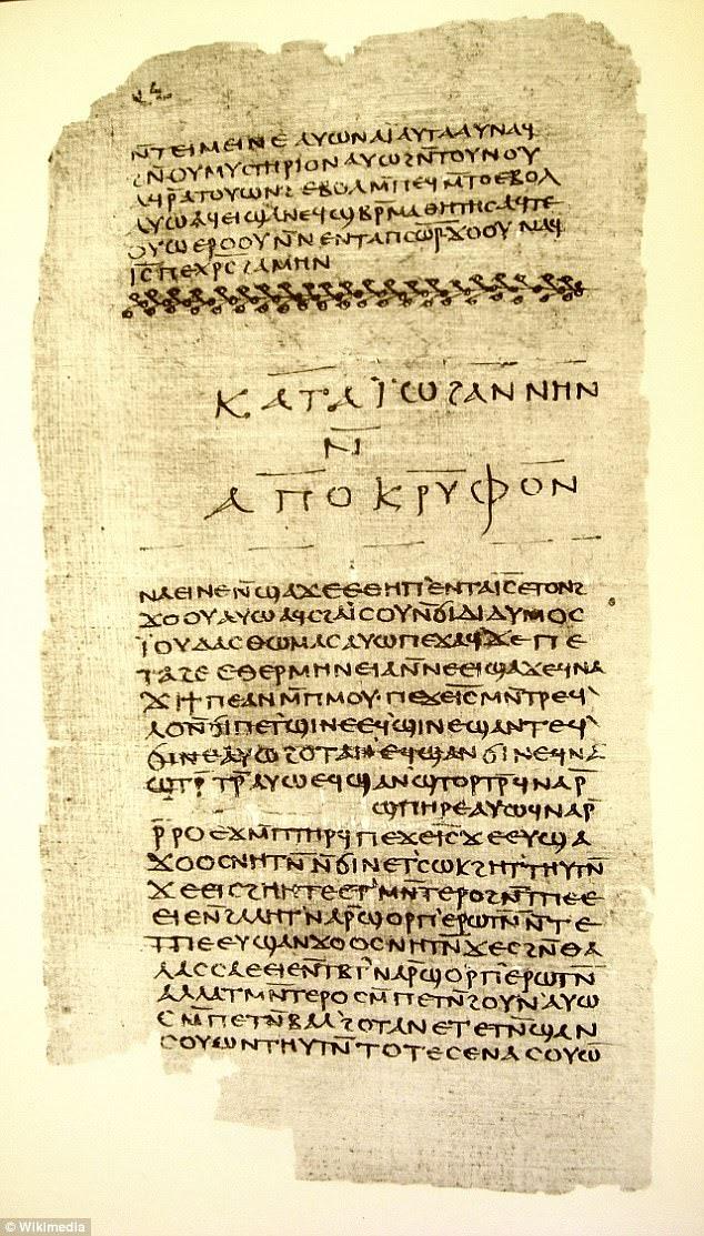 O texto faz parte da biblioteca de Nag Hammadi, uma série de 52 manuscritos religiosos escritos até 1.900 anos atrás. Distribuídos por 13 códices de velino em couro encontrados enterrados no Egito, eles são de uma tradição herética conhecida como Gnosticismo. Pictured é um fragmento da biblioteca