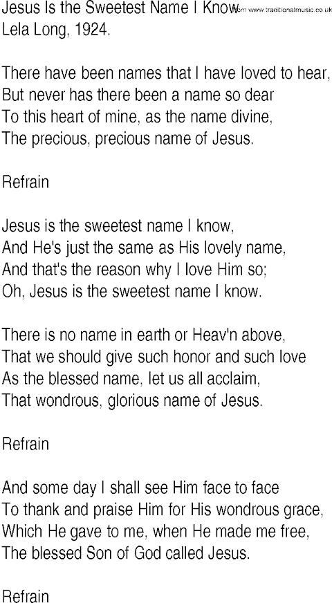 Jesus Is The Sweetest Name I Know Lyrics Gospel