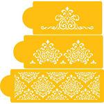 Designer Stencils C591 Elaine's Cake Stencil Set, Beige/Semi-Transparent