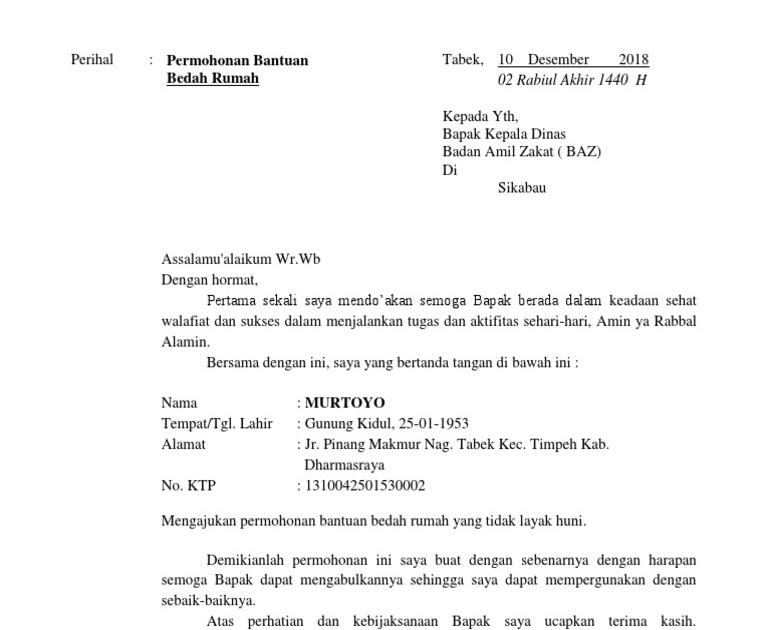 Contoh Surat Permohonan Bantuan Dana Baznas