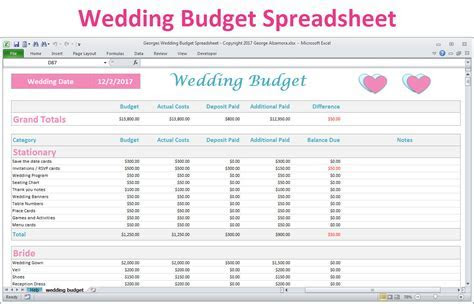 How To Create A Wedding Budget Spreadsheet Google