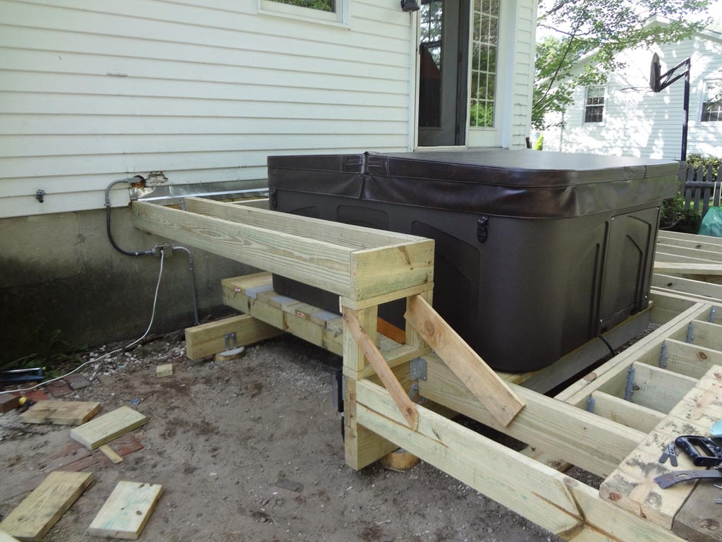 deck hot tub support