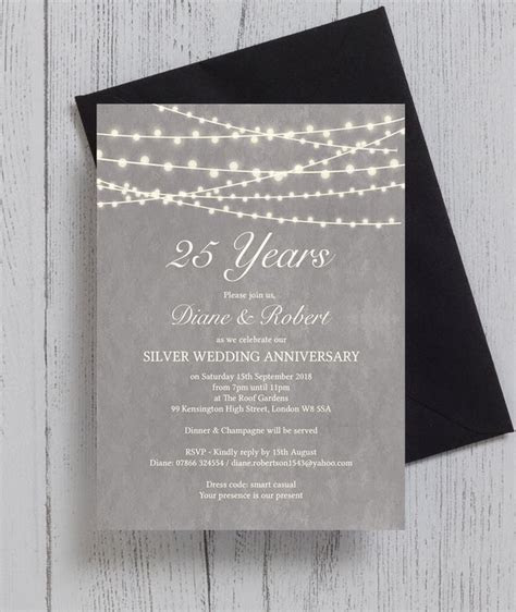Grey Fairy Lights 25th / Silver Wedding Anniversary