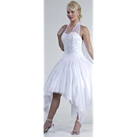 Beautiful White Halter Top Prom Formal Wedding Dress