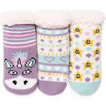 Muk Luks 3-pk. Faux Sherpa Unicorn Cabin Socks - Size 18-24Months Purple Multi - at Stage Stores
