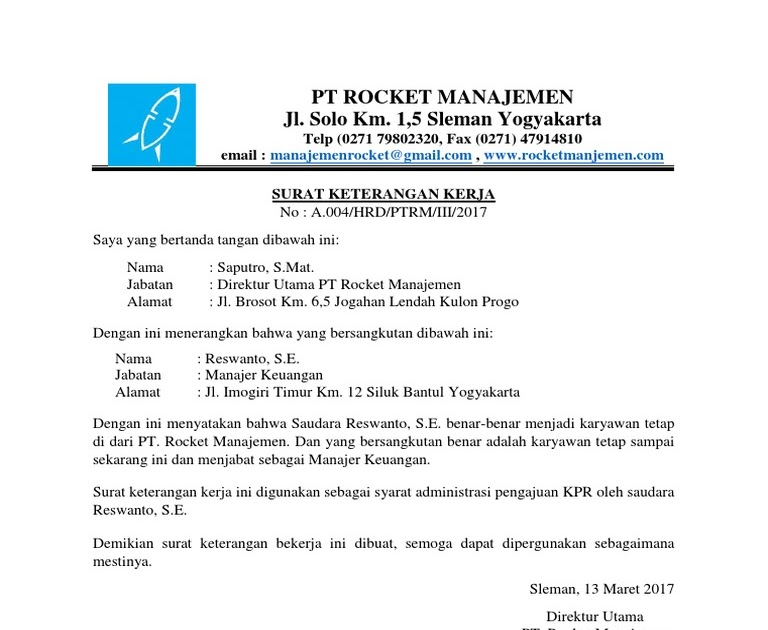 Surat Keterangan Karyawan Tetap Untuk Kpr - Contoh Seputar ...